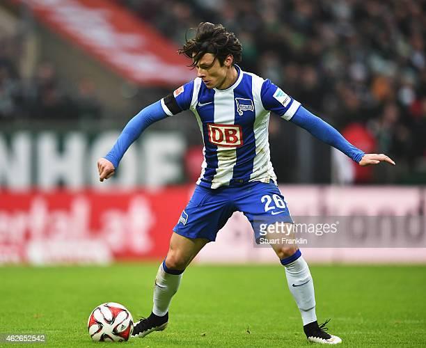 Nico Schulz of Berlin in action during the Bundesliga match between SV Werder Bremen and Hertha BSC at Weserstadion on February 1 2015 in Bremen...