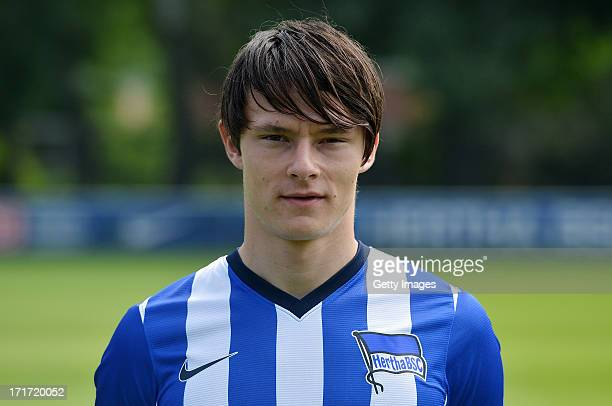 Nico Schulz of Berlin pose during the official Hertha BSC Berlin team presentation at the training ground of the team on June 28 2013 in Berlin...