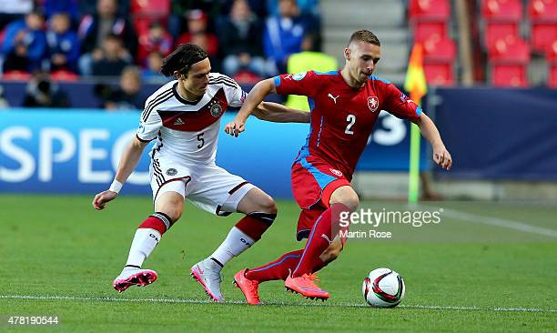Nico Schulz of Germany and Pavel Kaderabek of Czech Republic battle for the ball during the UEFA European Under21 Group A match between Germany and...