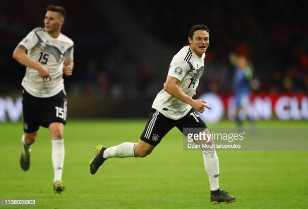 Nico Schulz of Germany celebrates after scoring his team's third goal during the 2020 UEFA European Championships Group C qualifying match between...