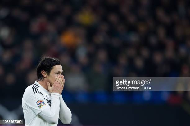 Nico Schulz of Germany reacts during the UEFA Nations League A group one match between Germany and Netherlands at VeltinsArena on November 19 2018 in...