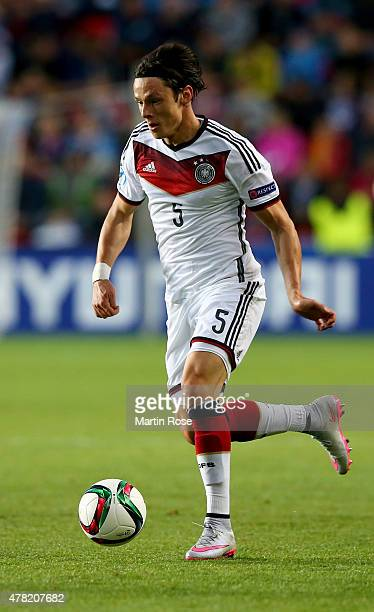 Nico Schulz of Germany runs with the ball during the UEFA European Under21 Group A match between Germany and Czech Republic at Eden Stadium on June...
