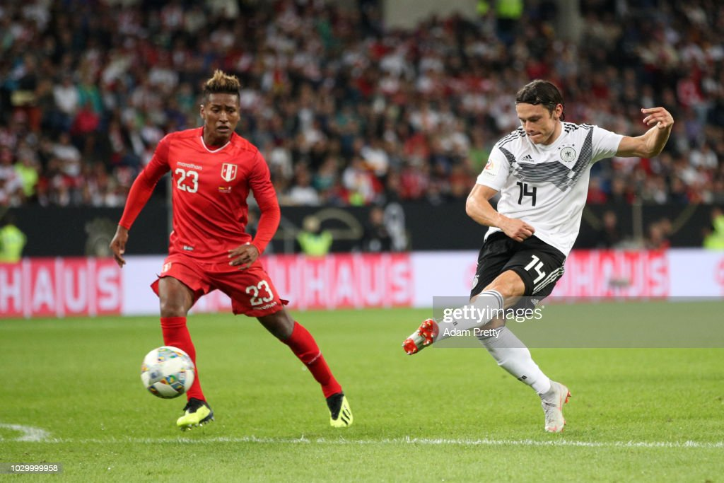 Nico Schulz of Germany scores his team's second goal during the International Friendly match between Germany and Peru at Rhein-Neckar-Arena on September 9, 2018 in Sinsheim, Germany.