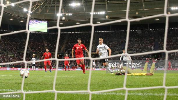 Nico Schulz of Germany scores his team's second goal past Pedro Gallese of Peru during the International Friendly match between Germany and Peru at...