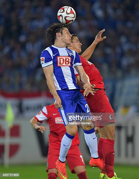 Nico Schulz of Hertha BSC during the Bundesliga match between SC Freiburg and Hertha BSC on september 19 2014 in Freiburg Germany