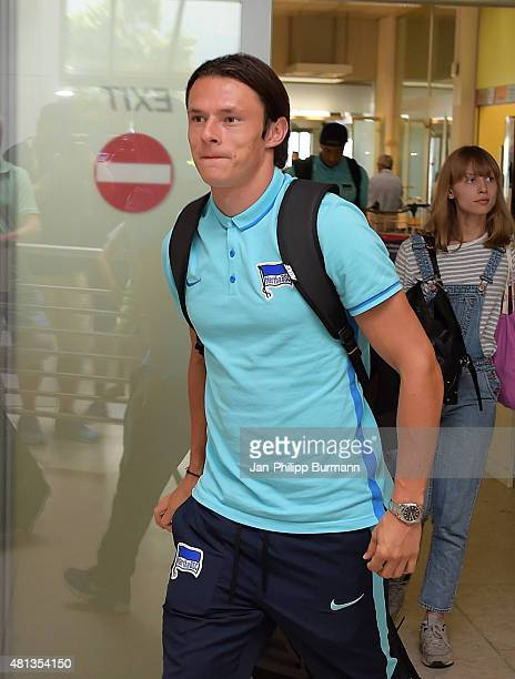 Nico Schulz of Hertha BSC during their arrival at Salzburg Airport ahead of the training camp in Schladming on July 19 2015 in Salzburg Austria