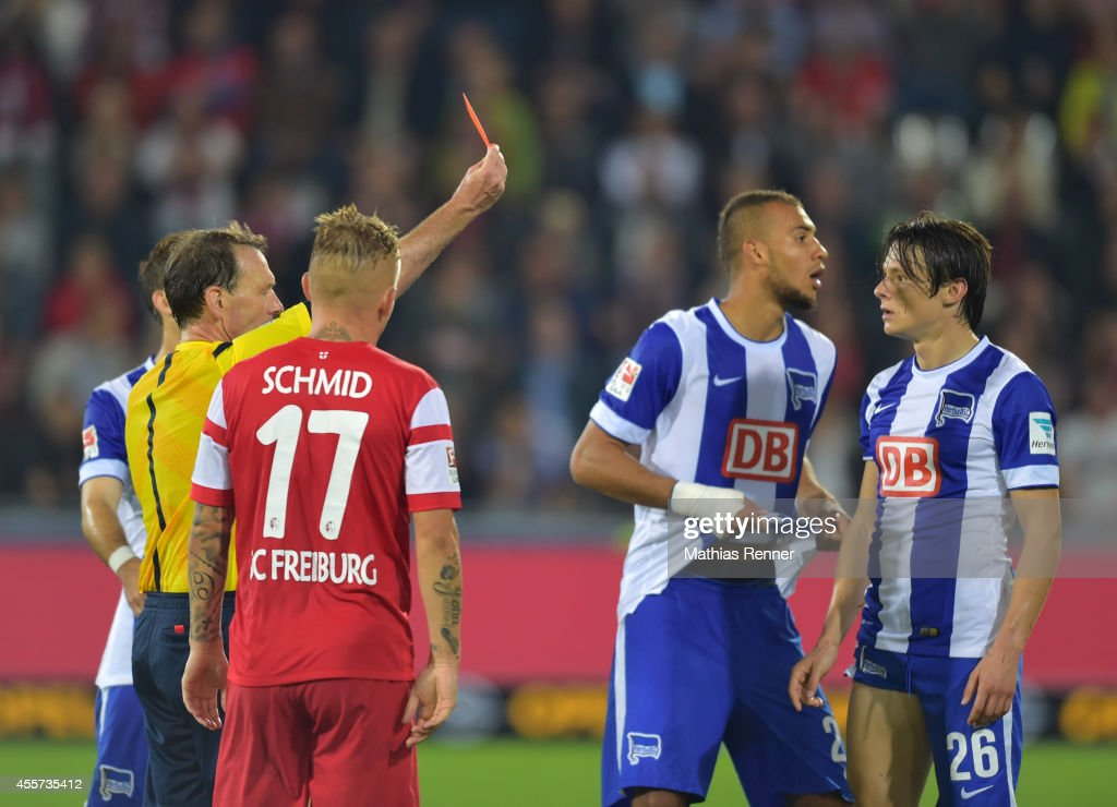 Nico Schulz of Hertha BSC gets a red card during the Bundesliga match between SC Freiburg and Hertha BSC on september 19, 2014 in Freiburg, Germany.