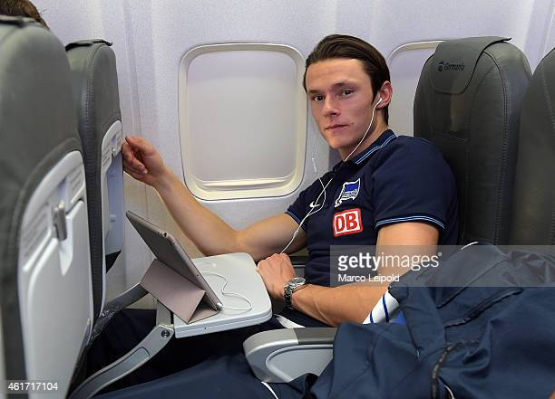 Nico Schulz of Hertha BSC of Hertha BSC during the team's arrival ahead of their Belek training camp at Antalya airport on January 18 2015 in Antalya...