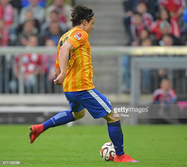 Nico Schulz of Hertha BSC shoots the ball during the game FC Bayern Muenchen against Hertha BSC on april 25 2015 in Muenchen Germany