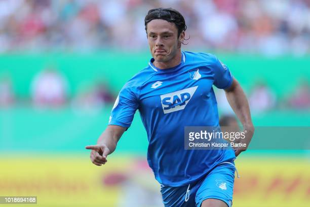 Nico Schulz of Hoffenheim celebrates the second goal for Hoffenheim during the first round DFB Cup match between 1 FC Kaiserslautern and TSG 1899...
