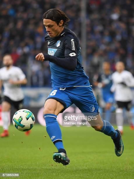 Nico Schulz of Hoffenheim controls the ball during the Bundesliga match between TSG 1899 Hoffenheim and Eintracht Frankfurt at Wirsol...