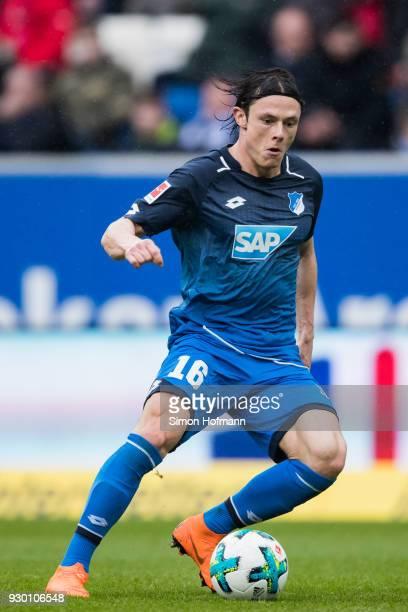 Nico Schulz of Hoffenheim controls the ball during the Bundesliga match between TSG 1899 Hoffenheim and VfL Wolfsburg at Wirsol RheinNeckarArena on...