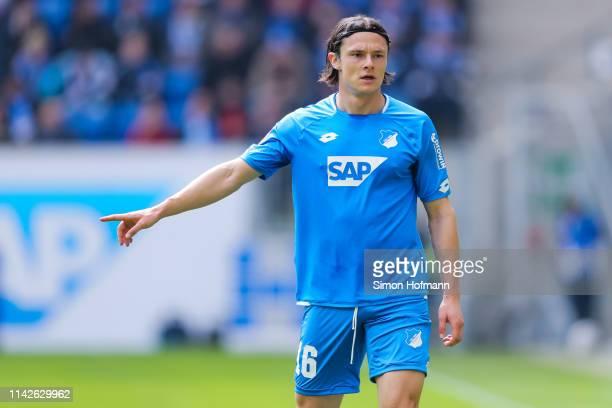 Nico Schulz of Hoffenheim gestures during the Bundesliga match between TSG 1899 Hoffenheim and Hertha BSC at PreZeroArena on April 14 2019 in...