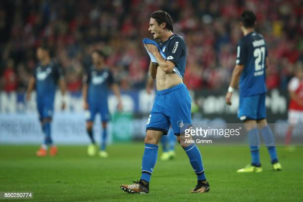 Nico Schulz of Hoffenheim reacts during the Bundesliga match between 1 FSV Mainz 05 and TSG 1899 Hoffenheim at Opel Arena on September 20 2017 in...