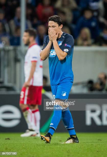 Nico Schulz of Hoffenheim reacts during the UEFA Europa League Group C match between 1899 Hoffenheim and Sporting Braga at Wirsol RheinNeckarArena on...