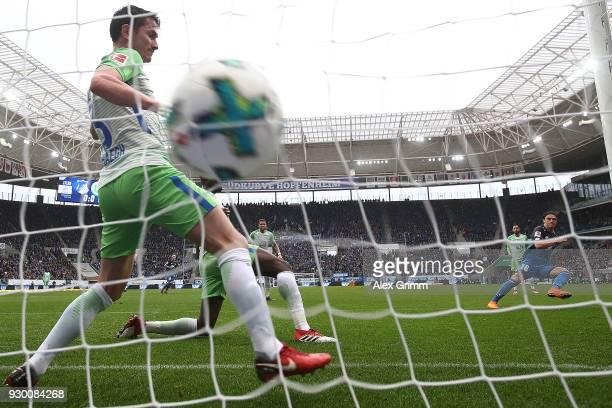 Nico Schulz of Hoffenheim scores a goal to make it 10 during the Bundesliga match between TSG 1899 Hoffenheim and VfL Wolfsburg at Wirsol...