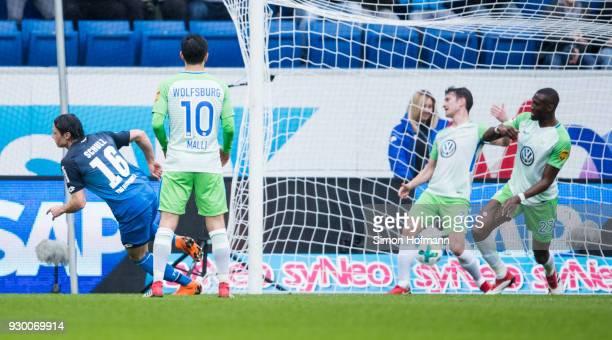 Nico Schulz of Hoffenheim scores his side's first goal during the Bundesliga match between TSG 1899 Hoffenheim and VfL Wolfsburg at Wirsol...