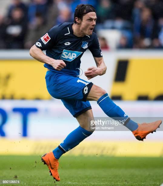 Nico Schulz of Hoffenheim tries to score during the Bundesliga match between TSG 1899 Hoffenheim and VfL Wolfsburg at Wirsol RheinNeckarArena on...