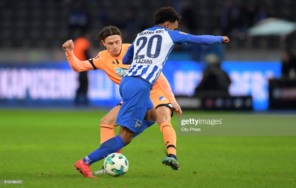 Nico Schulz of the TSG 1899 Hoffenheim and Valentino Lazaro of Hertha BSC during the game between Hertha BSC and TSG Hoffenheim on february 3, 2018 in Berlin, Germany.