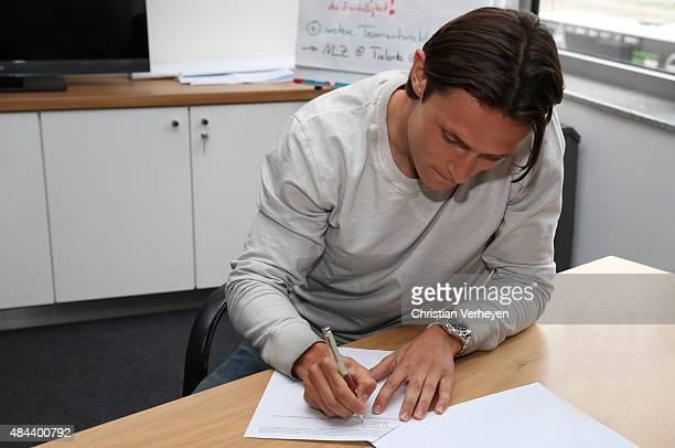 Nico Schulz signs a new contract for Borussia Moenchengladbach on Augsut 18 2015 at BORUSSIAPARK Moenchengladbach Germany