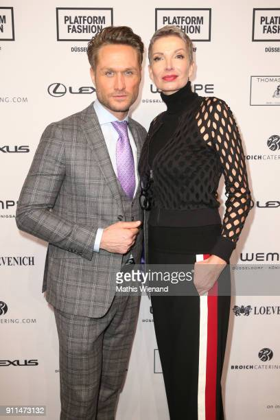 Nico Schwanz and Alex Jolig attend the Thomas Rath show during Platform Fashion January 2018 at Areal Boehler on January 28 2018 in Duesseldorf...