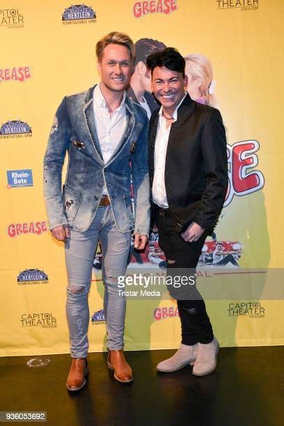 Nico Schwanz andMatthias Mangiapane attend the 'Grease' premiere on March 21 2018 in Duesseldorf Germany