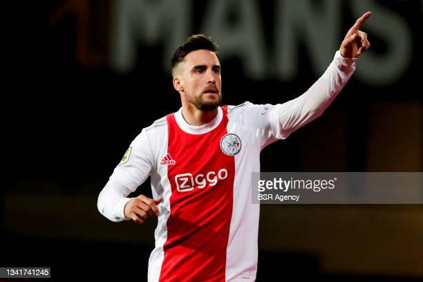 Nico Tagliafico of Ajax celebrates after scoring his sides fifth goal during the Dutch Eredivisie match between Fortuna Sittard and Ajax at Fortuna...