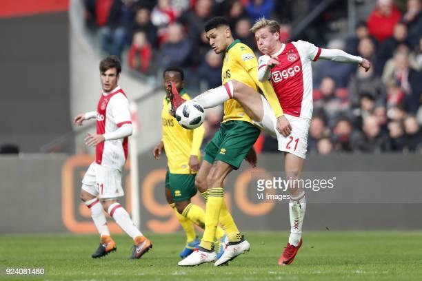 Nico Tagliafico of Ajax Elson Hooi of ADO Den Haag Bjorn Johnsen of ADO Den Haag Frenkie de Jong of Ajax during the Dutch Eredivisie match between...