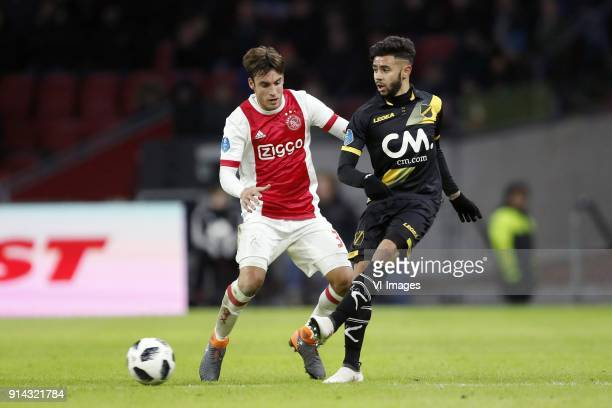 Nico Tagliafico of Ajax Paolo Fernandes of NAC Breda during the Dutch Eredivisie match between Ajax Amsterdam and NAC Breda at the Amsterdam Arena on...