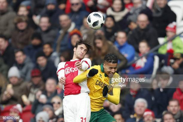 Nico Tagliafico of Ajax Tyronne Ebuehi of ADO Den Haag during the Dutch Eredivisie match between Ajax Amsterdam and ADO Den Haag at the Amsterdam...