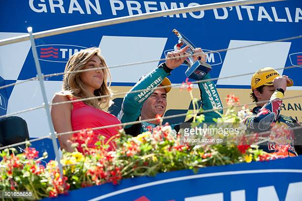Nico Terol of Spain and Bancaja Aspar Team celebrates on the podium at the end of 125 cc race of Grand Prix of Italy on June 6, 2010 in Mugello...