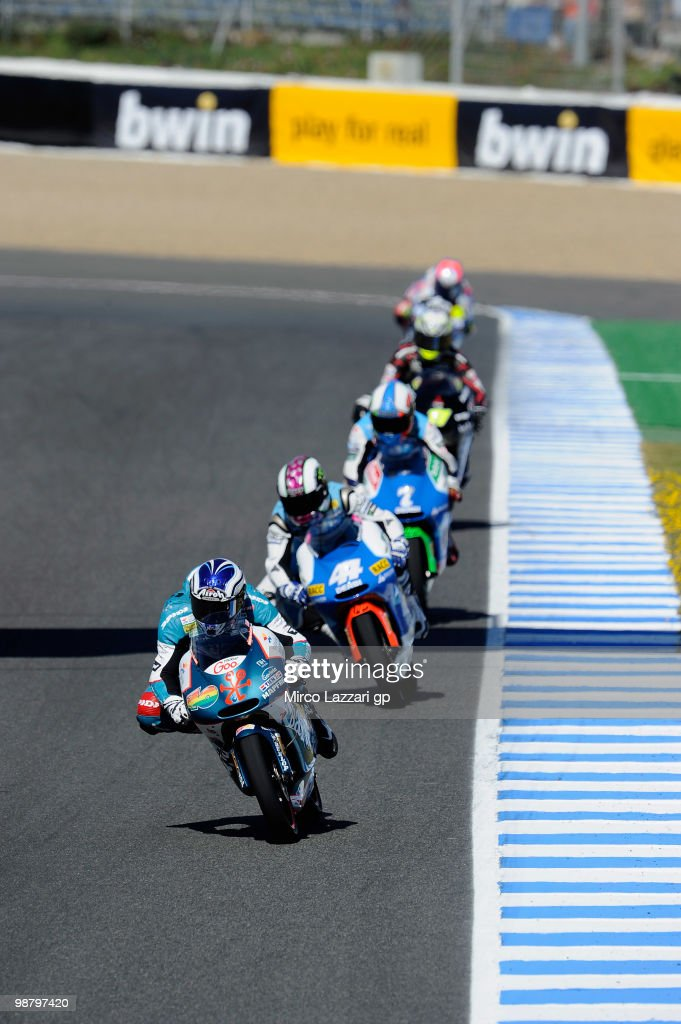 Nico Terol of Spain and Bancaja Aspar Team leads the fields during the 125 cc race at Circuito de Jerez on May 2, 2010 in Jerez de la Frontera, Spain.