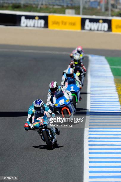Nico Terol of Spain and Bancaja Aspar Team leads the fields during the 125 cc race at Circuito de Jerez on May 2 2010 in Jerez de la Frontera Spain