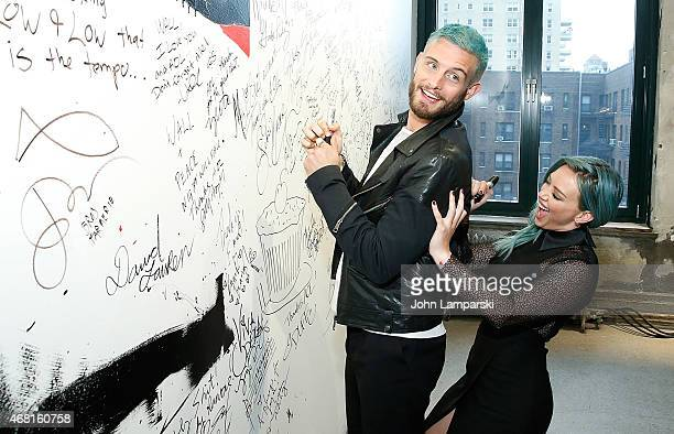 """Nico Tortorella and actress Hilary Duff of the cast of """"Younger"""" speak at the AOL BUILD Speaker Series at AOL Studios In New York on March 30, 2015..."""