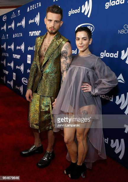 Nico Tortorella and Bethany Meyers attend 2018 GLAAD Media Awards Rising Stars luncheon at Mercury Ballroom at the New York Hilton on May 4 2018 in...