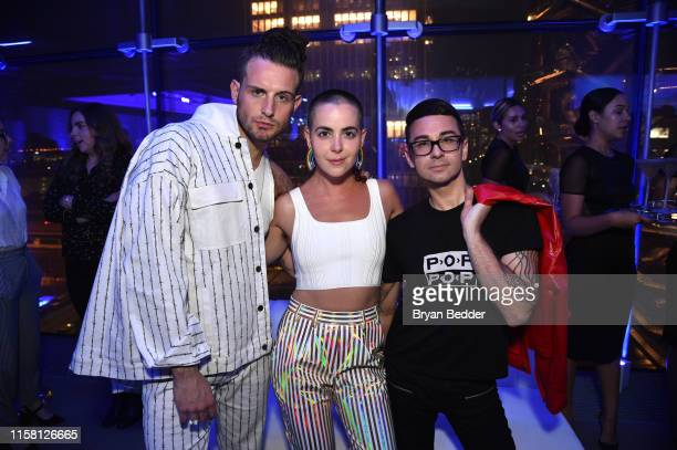 Nico Tortorella Bethany C Meyers and Christian Siriano pose for a photo together as Belvedere Vodka x Janelle Monae Celebrate The Launch Of A...