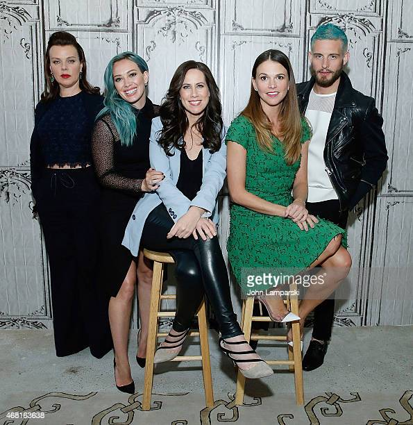Nico Tortorella Hilary Duff Miriam Shor Debi Mazar and Sutton Foster of the cast of Younger speak at the AOL BUILD Speaker Series at AOL Studios In...