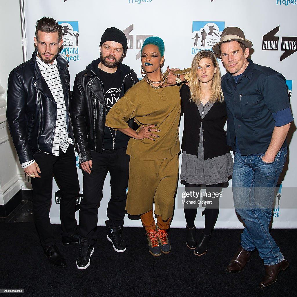 Nico Tortorella, Lemon Anderson, Sharaya J, Ryan Hawke and Ethan Hawke attend the Bronxwrites' Poetry Slam Finals at Joe's Pub on February 2, 2016 in New York City.