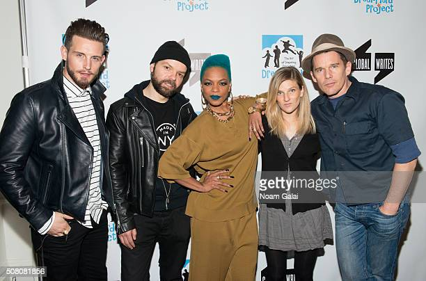 Nico Tortorella Lemon Anderson Sharaya J Ryan Hawke and Ethan Hawke attend the Bronxwrites' Poetry Slam finals at Joe's Pub on February 2 2016 in New...