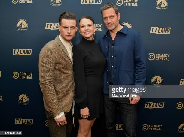 Nico Tortorella, Sutton Foster and Peter Hermann from 'Younger' attend the Comedy Central, Paramount Network and TV Land summer press day at The...