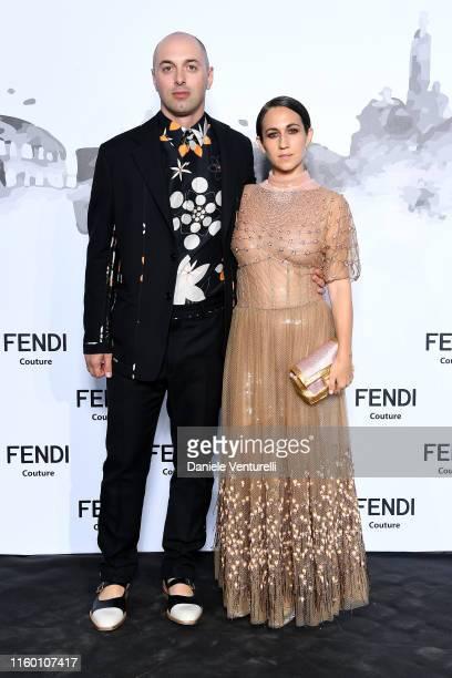 Nico Vascellari and Delfina Delettrez Fendi attend the Cocktail at Fendi Couture Fall Winter 2019/2020 on July 04 2019 in Rome Italy