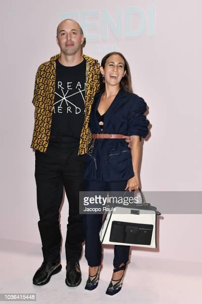 Nico Vascellari and Delfina Delettrez Fendi attend the Fendi show during Milan Fashion Week Spring/Summer 2019 on September 20 2018 in Milan Italy