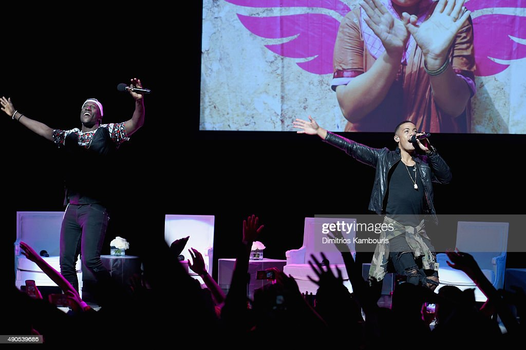 Nico & Vinz perform onstage during the Glamour 'The Power Of An Educated Girl' panel at The Apollo Theater on September 29, 2015 in New York City.