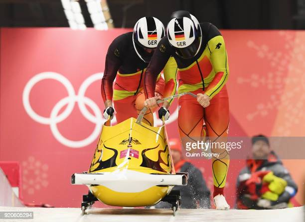 Nico Walther and Christian Poser of Germany make their final run during the Men's 2Man Bobsleigh on day 10 of the PyeongChang 2018 Winter Olympic...