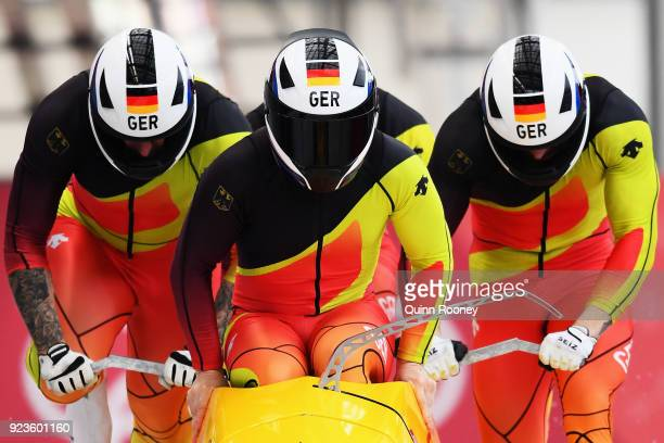 Nico Walther Kevin Kuske Alexander Roediger and Eric Franke of Germany compete during 4man Bobsleigh Heats on day fifteen of the PyeongChang 2018...