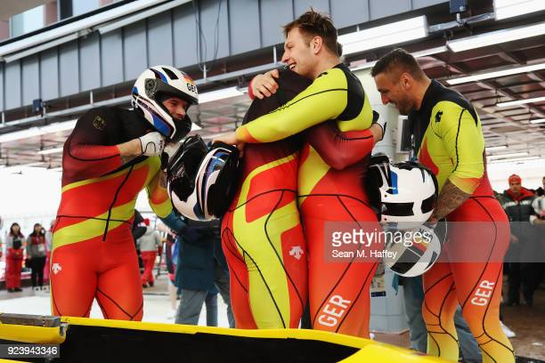 Nico Walther Kevin Kuske Alexander Roediger and Eric Franke of Germany react after their final run during the 4man Boblseigh heats on day sixteen of...