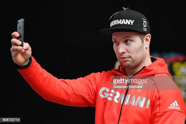 Nico Walther takes a selfie during the 2018 PyeongChang Olympic Games German Team kit handover at Postpalast on January 22 2018 in Munich Germany