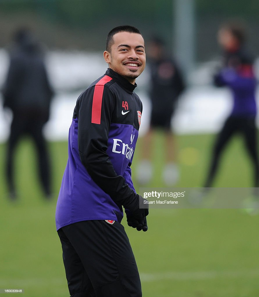 Nico Yennaris of Arsenal during a training session at London Colney on January 25, 2013 in St Albans, England.