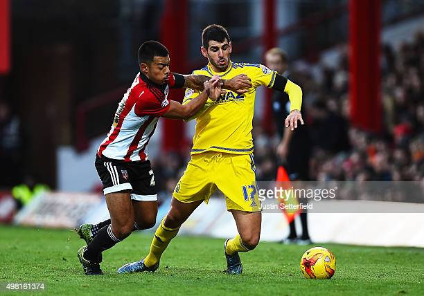 Nico Yennaris of Brentford and Nelson Oliveira of Nottingham Forest in action during the Sky Bet Championship match between Brentford and Nottingham...