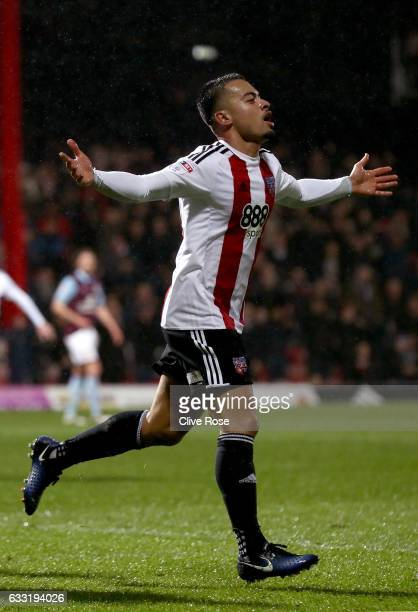Nico Yennaris of Brentford celebrates scoring his team's second goal during the Sky Bet Championship match between Brentford and Aston Villa at...